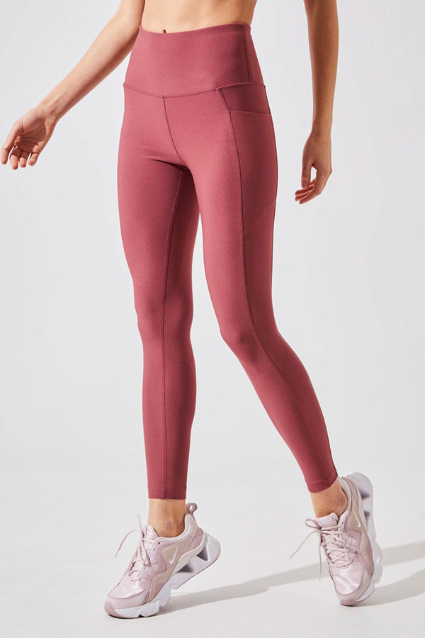 MPG Sport women's Rival High Waisted Recycled Polyester 7/8 Legging in Dark Orchid
