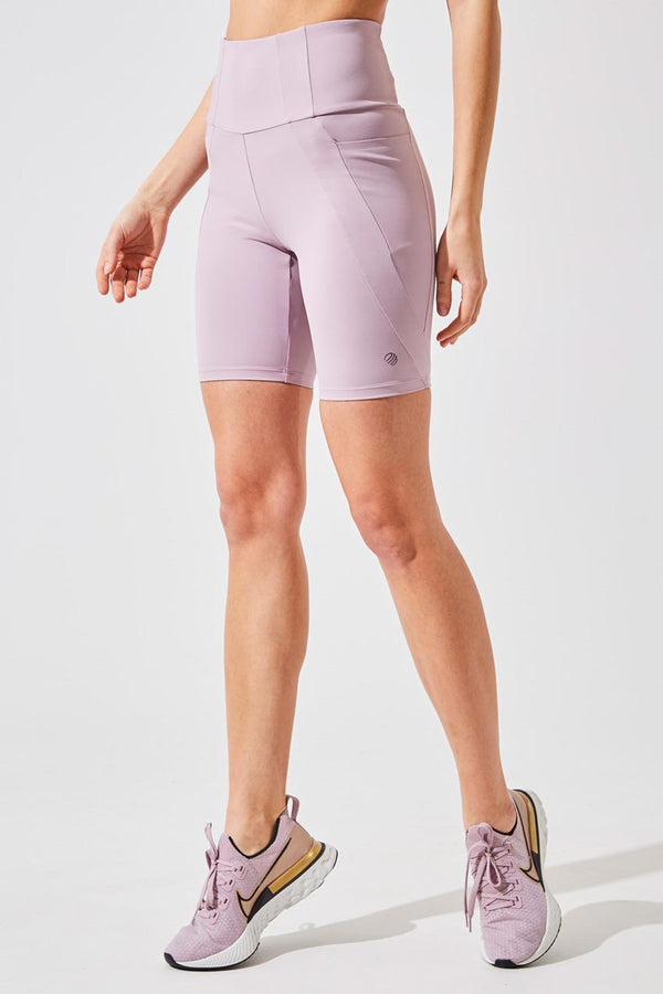 MPG Sport women's Rider Ultra-High Waisted Recycled Nylon Biker Short in Dusty Purple