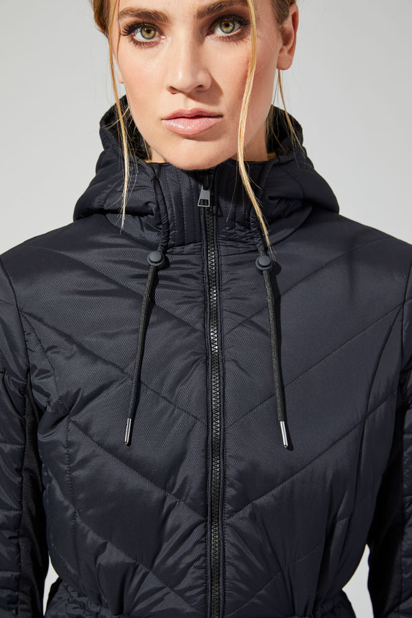 MPG Sport's clearance warehouse women's Ovation Insulated Hooded Jacket in Black