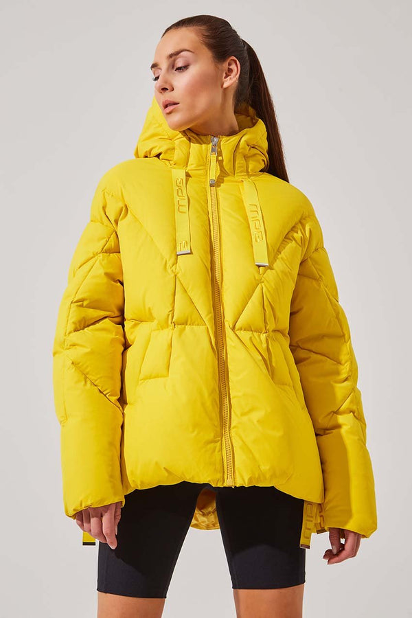 MPG Sport women's Stratosphere Down Filled Slouchy Puffer Jacket in Primary Yellow