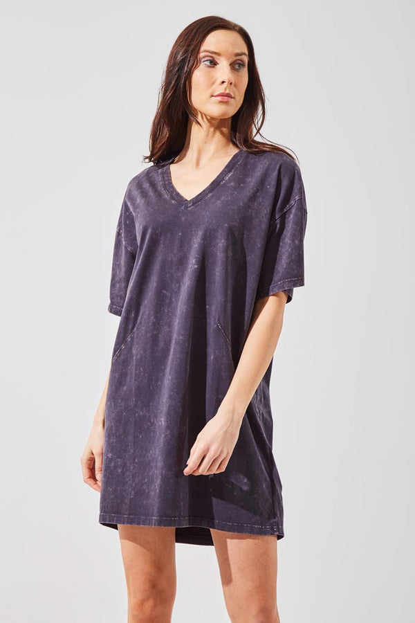MPG Sport women's Splash Oversized T-Shirt Dress in Charcoal