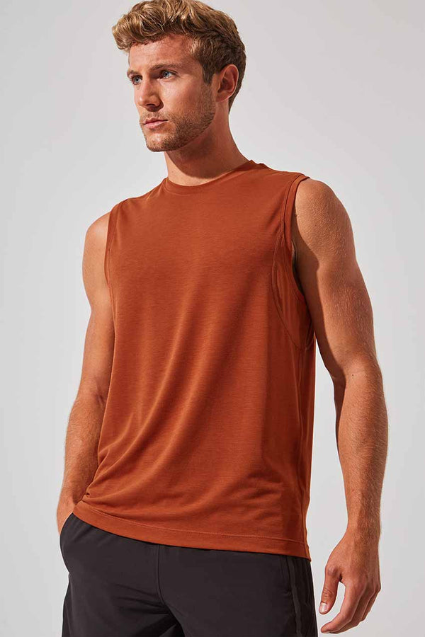 MPG Sport men's Flex Recycled Polyester Stink-Free Tank - Sale in Habanero