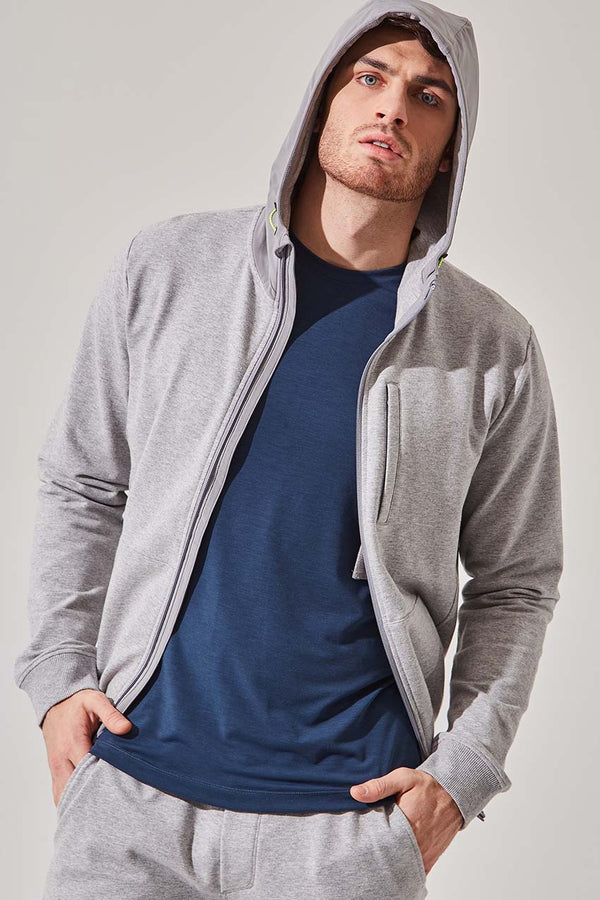 MPG Sport men's Robust Zip-Up Hoodie in Htr Concrete