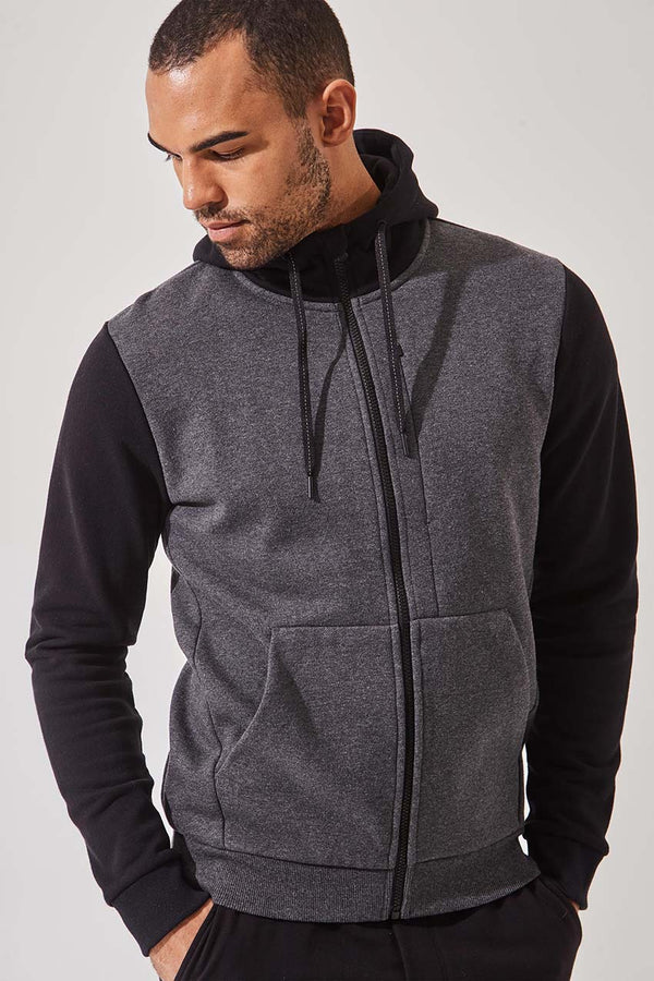 MPG Sport men's Upper Hand Recycled Organic Cotton Hoodie in Htr Charcoal/Black