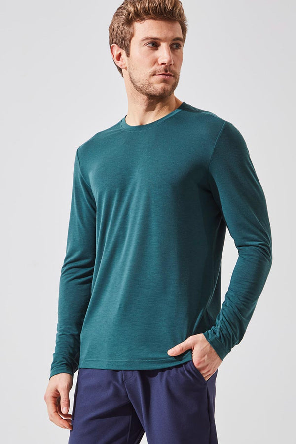 MPG Sport men's Recharge Recycled Polyester Stink-Free Long Sleeve in Ultramarine Green