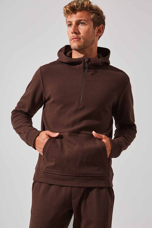 MPG Sport men's Catalyst Half Zip Hoodie in Dark Mahogany