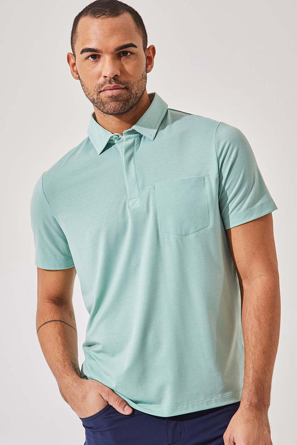 MPG Sport men's Detour 2.0 Lyocell Blend Short Sleeve Polo - Sale in Sea Foam Green Melange