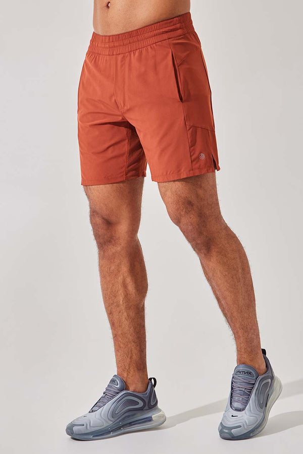 "MPG Sport men's Leeway 7"" Recycled Polyester Short with Liner in Dark Brick"