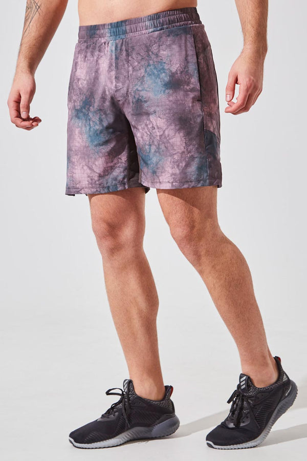 "MPG Sport men's Stealth 7"" Sustainable Active/Swim Short with Liner in Sunset Smoky Grid"