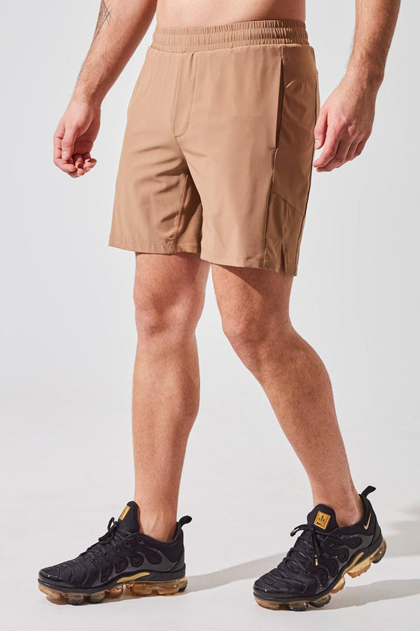 "MPG Sport men's Catch 7"" Recycled Polyester Short with Liner in Camel"