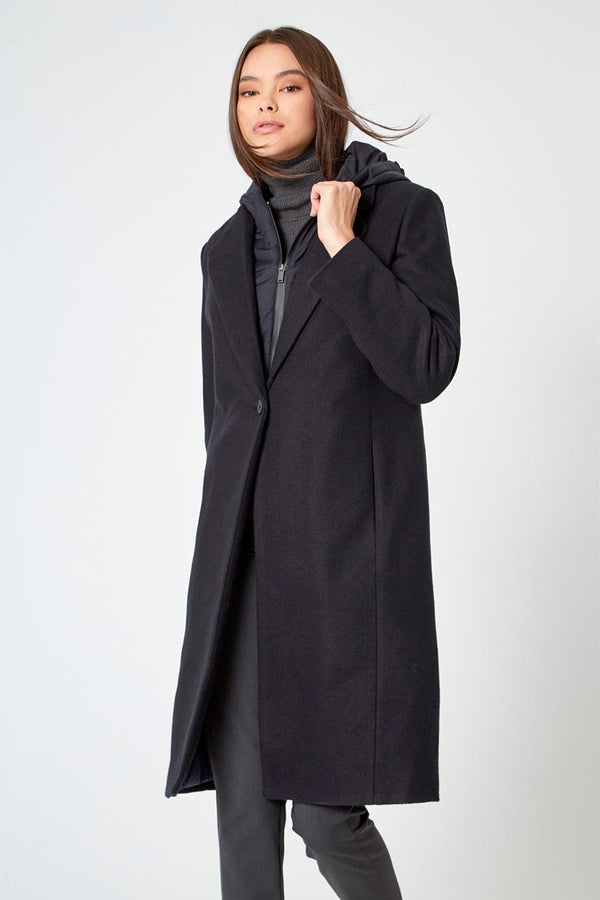 Modern Ambition work-ready women's Goal-Getter Overcoat with Removable Hooded Fooler in Black