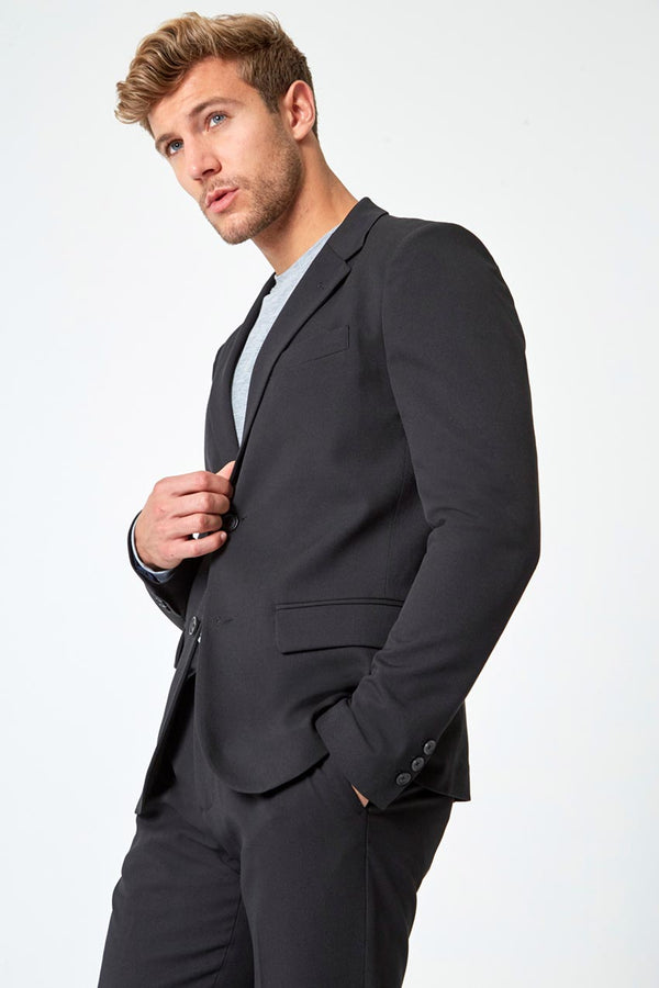 Modern Ambition work-ready men's Game Change Twill Blazer in Black
