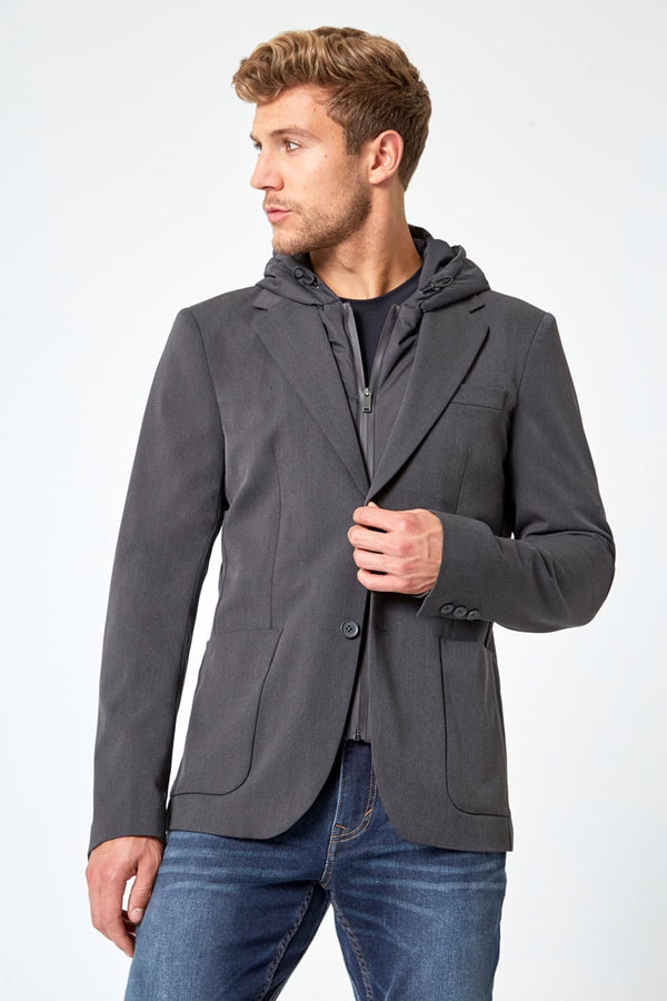 Modern Ambition work-ready men's Tenacity Twill Blazer with Removable Hooded Fooler in Wayward Grey