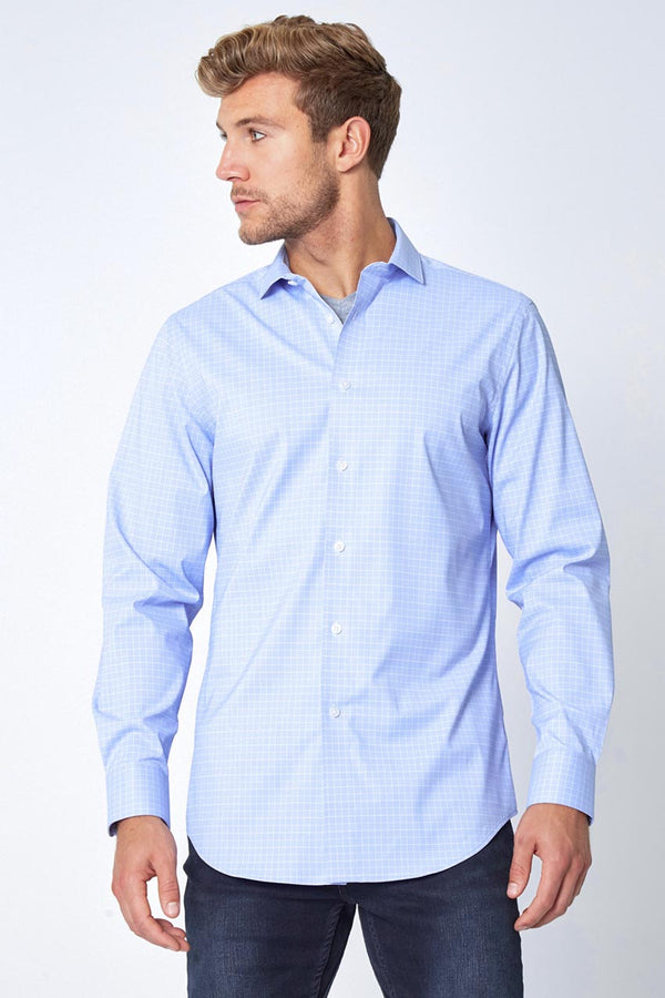 Modern Ambition work-ready men's TechniCity Absolute Performance Poplin Standard-Fit Shirt in Blue Glen Check
