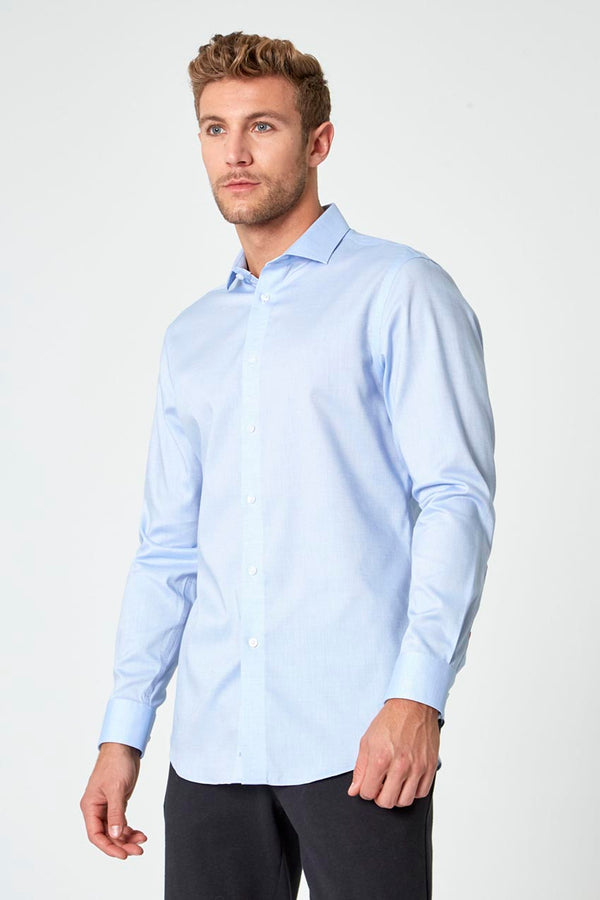 Modern Ambition work-ready men's Air-Tech Poplin Standard-Fit Shirt in Blue Dobby