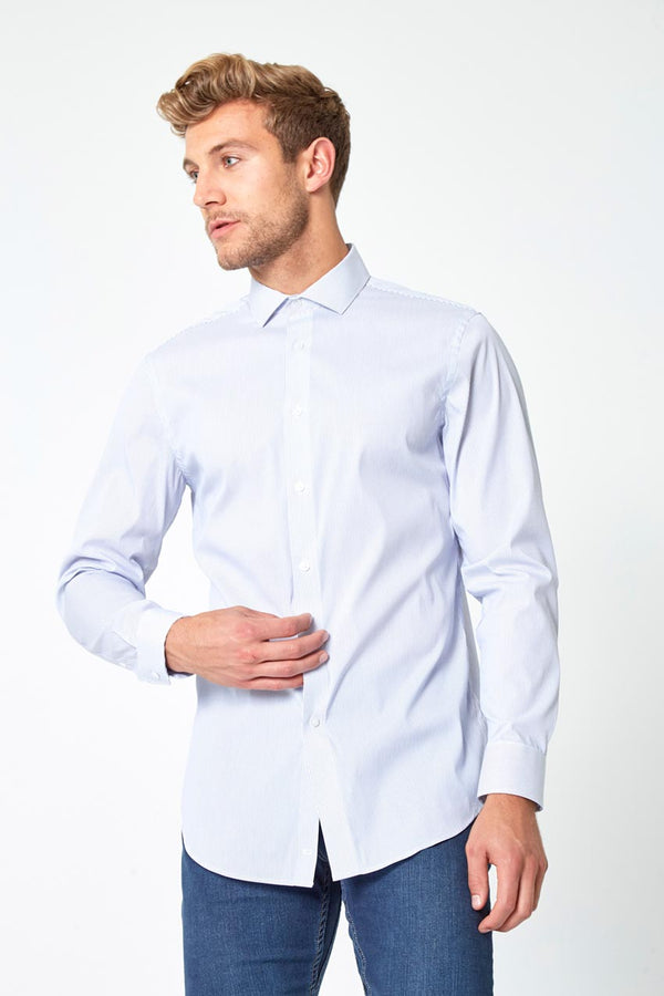 Modern Ambition work-ready men's PerformLuxe Cotton Poplin Standard-Fit Shirt in Oxford Stripe