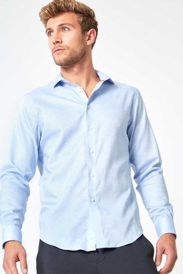 Modern Ambition work-ready men's Air-Tech Poplin Slim-Fit Shirt in Blue Dobby