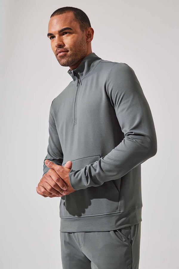 MPG Sport men's Limber Recycled Polyester Half Zip Sweatshirt in Sage