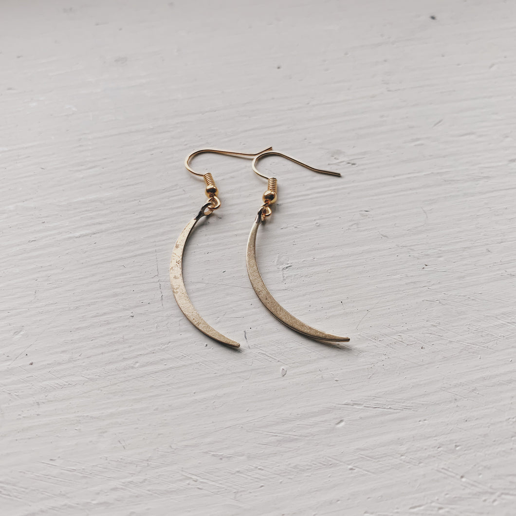 gold moon sliver earrings