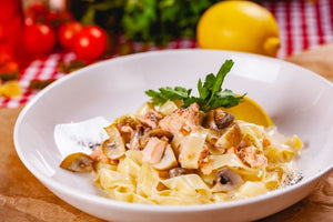 Sauteed Smoked Salmon & Mushrooms Over Pasta