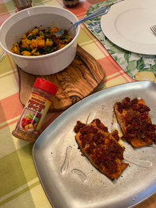 Salmon Steaks with Sun-Dried Tomato Dressing