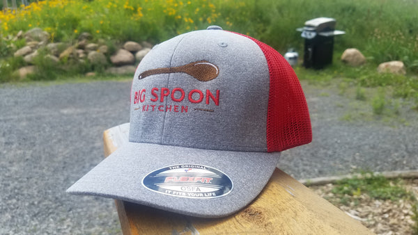 Red and Grey Mesh Big Spoon Baseball Cap