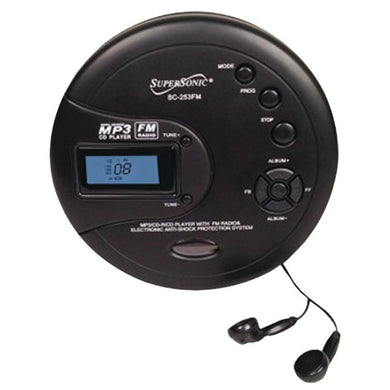 Supersonic(R) SC-253FM Personal MP3/CD Player with FM Radio