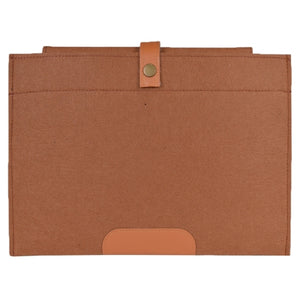 Wool Felt Sleeve Laptop Cover w/Snap-On Button Closure - Fits 11.6 MacBook Air & Other Laptops (Light Brown)
