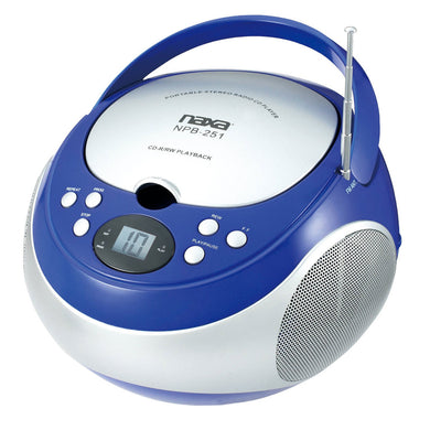 Naxa Portable CD Player with AM/FM Stereo Radio- Blue