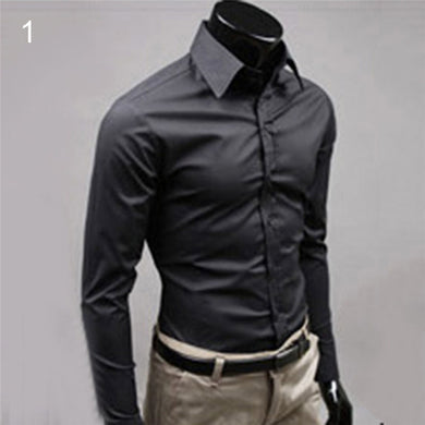 Men Luxury Casual Formal Shirt Long Sleeve Solid Color Slim Fit Business Dress Shirts Top