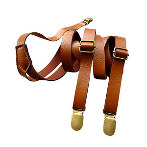 Fully Adjustable Clip On Suspender Stylish Dress PU Leather Suspenders for Women Men