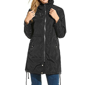 Women Rain Jacket Hooded Lightweight Trench Coat