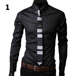 2017 New Arrival Fashion Men Argyle Luxury Business Style Slim Fit Long Sleeve Casual Dress Shirt