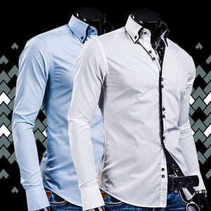 2017 New Arrival Men's Fashion Luxury Slim Fit Long Sleeve Casual Dress Shirts Blouse Tops Tee H8Q78Q
