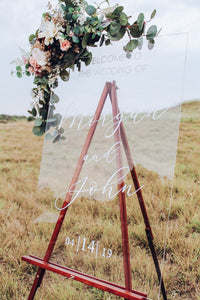 Clear Wedding Welcome Sign