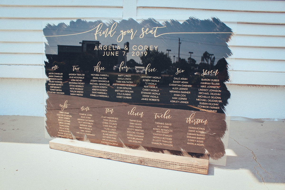 Wedding Seating Sign | Seating Chart Wedding | Seating Chart | Acrylic Wedding Sign | Find Your Seat Sign | Black & Gold Wedding