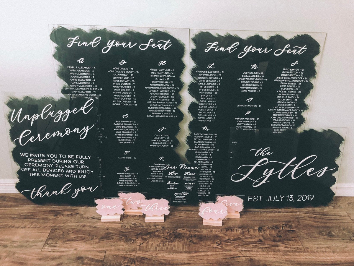 NEW~ Wedding Sign Set | Acrylic Wedding Sign | Custom Wedding Sign | Acrylic Seating Chart | Modern Acrylic Wedding Signs | Wedding Signage