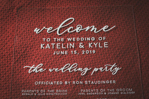 Clear Wedding Program Sign