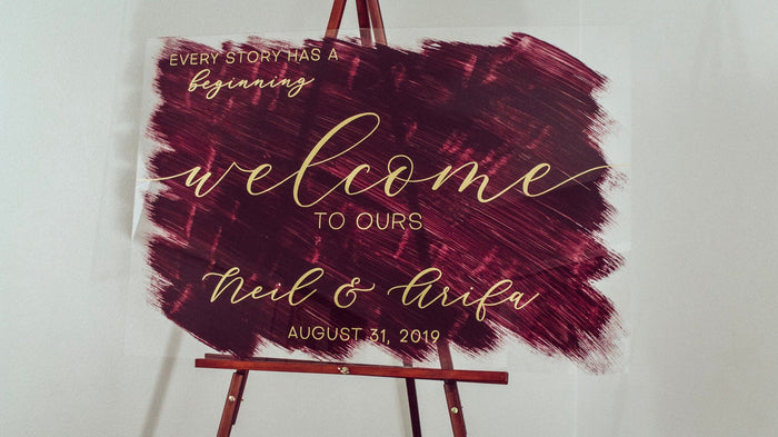 Wedding Welcome Sign | Painted Wedding Signs | Acrylic Welcome Sign | Welcome To Our Wedding Sign | Love Story Sign