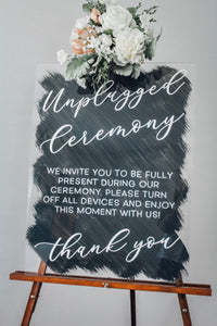 Unplugged Wedding Acrylic Sign