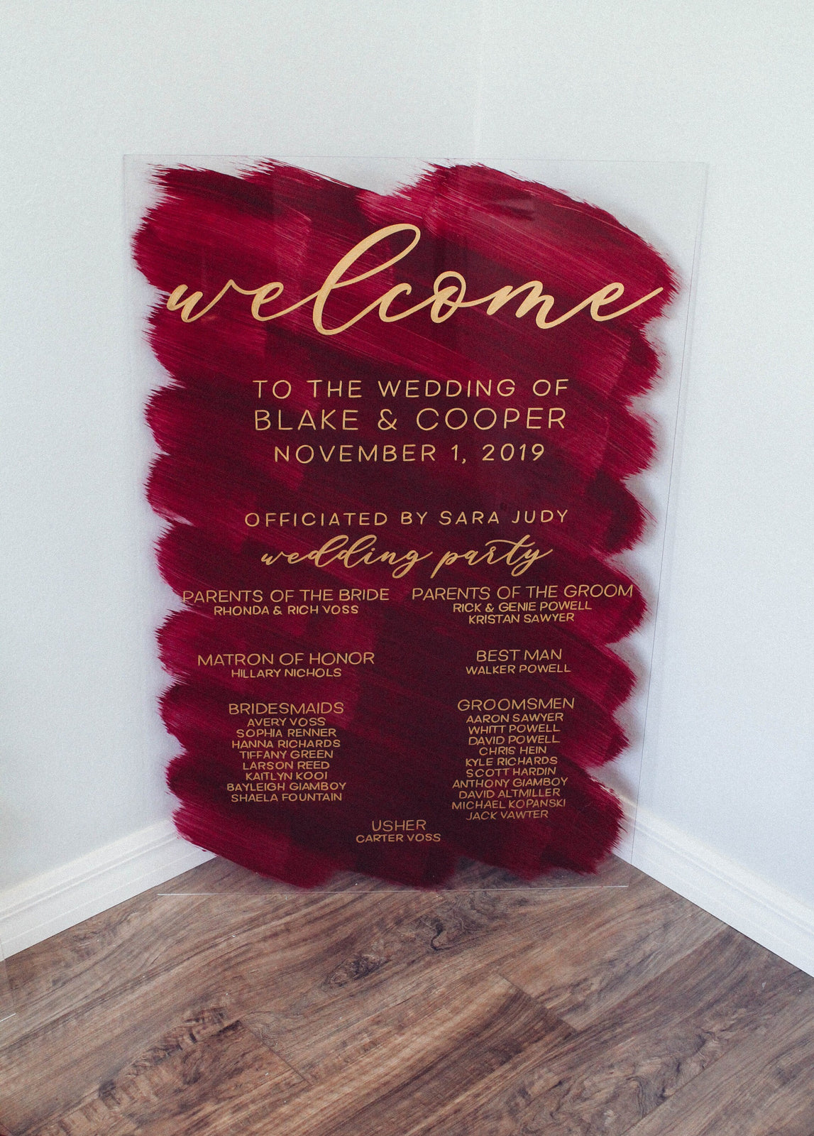 Wedding Program | Acrylic Wedding Sign | Wedding Party Sign | Acrylic Welcome Sign | Bridal Party Sign