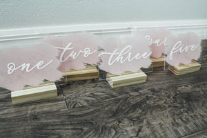 Hand Lettered Table Numbers