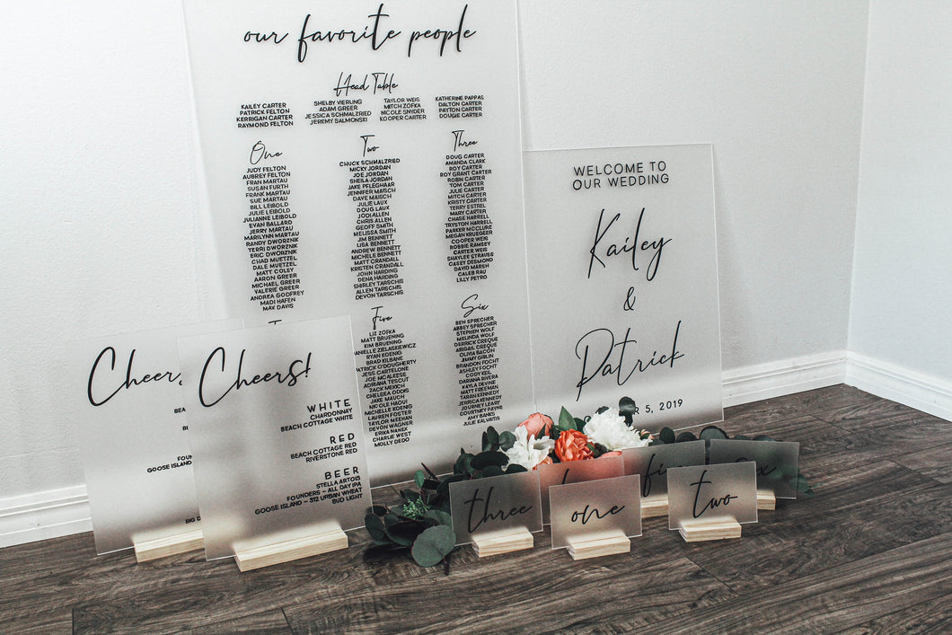 Frosted Acrylic Wedding Sign Set