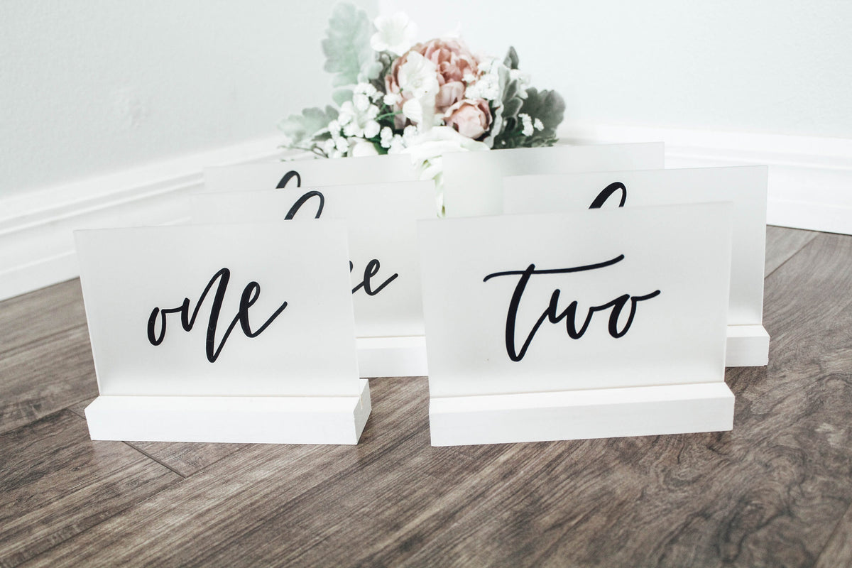 Frosted Table Numbers, Table Numbers, Acrylic Table Numbers, Table Number Wedding, Calligraphy Table Numbers