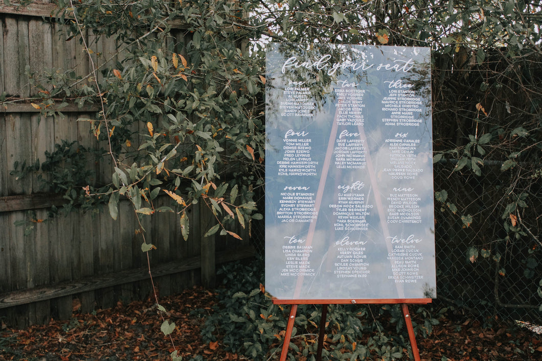 Clear Seating Chart Wedding