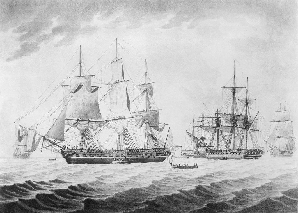 Detail of To Captain H Hope... of His Majesty's Frigate Endymion... the Morning after the Action with the American United States Frigate President, Jany 16th 1814... by Thomas Buttersworth