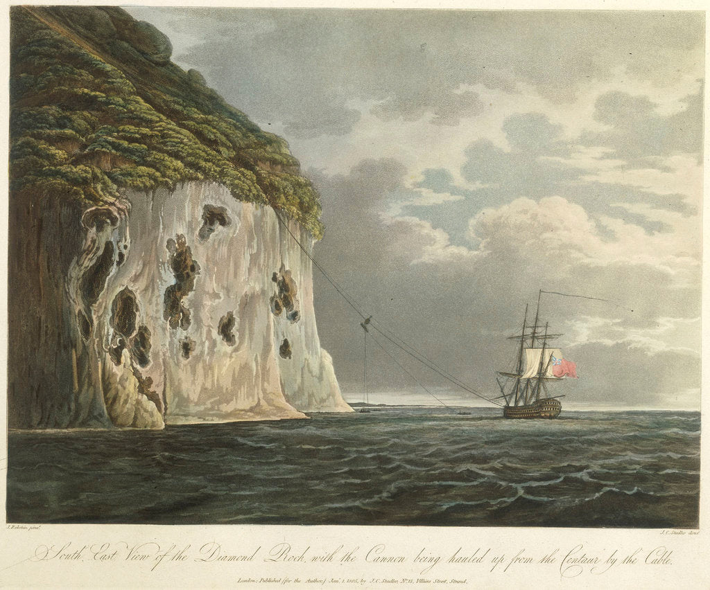 Detail of South east view of the Diamond Rock, with the cannon being hauled up from the 'Centaur' by the cable by Joseph Constantine Stadler