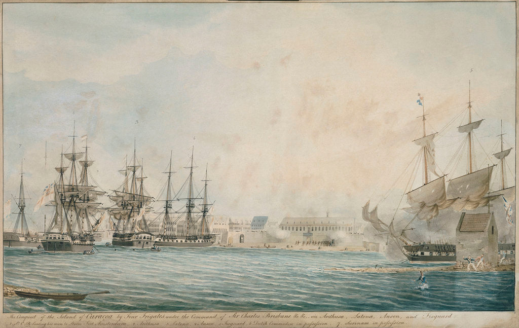 Detail of The conquest of the island of Curacoa by four frigates under the command of Sir Charles Brisbane by Charles Brisbane