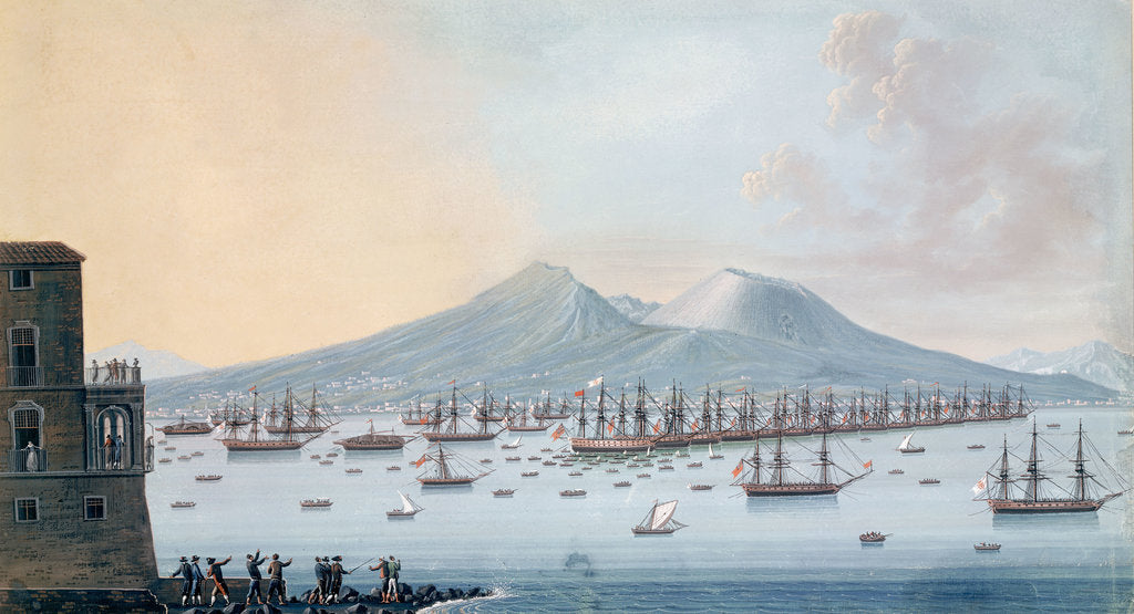 Detail of The British fleet at anchor in the Bay of Naples, 17 June 1798 by Giacomo Guardi