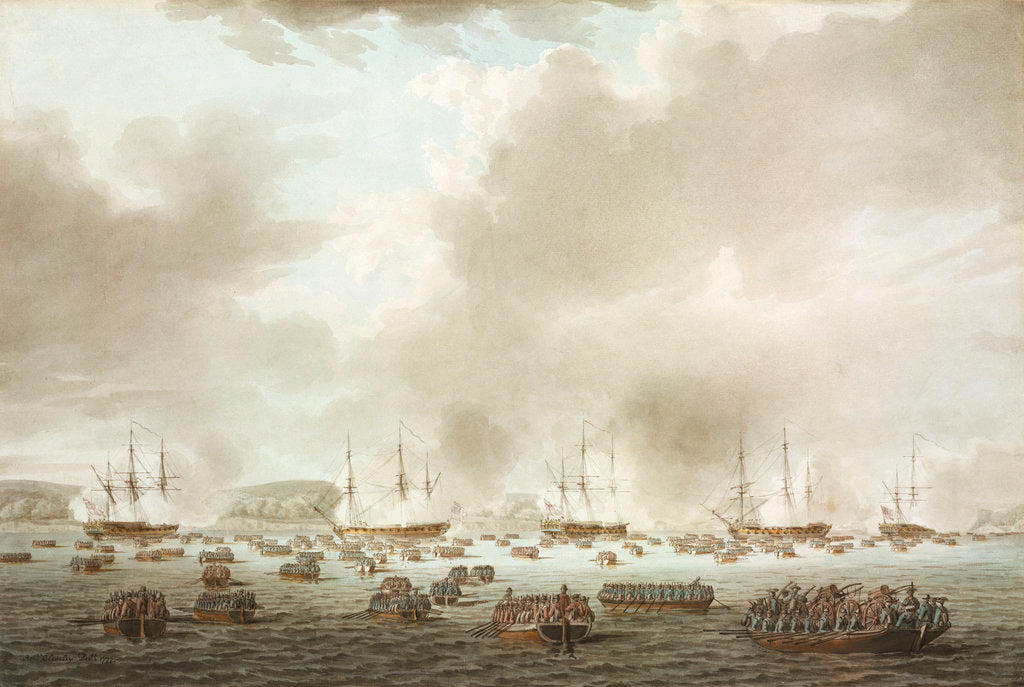 Detail of The British landing at Kip's Bay, New York Island, 15 September 1776 by Robert Cleveley